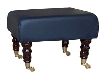 Navy Blue Faux Leather Footstool with Mahogany Caster Legs