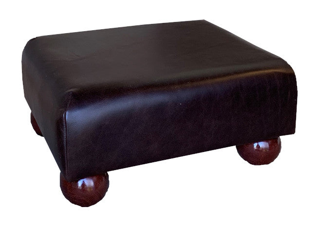 Aged Dark Brown Leather Footstool with Mahogany Bun Feet