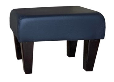 Navy Blue Faux Leather Footstool with Dark Contemporary Legs