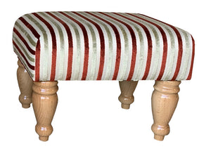 Red Stripe Velvet Fabric Footstool with Natural Turned Legs