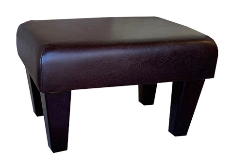 Aged Dark Brown Leather Footstool with Dark Contemporary Legs