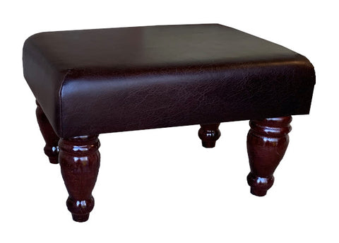 Aged Dark Brown Leather Footstool with Mahogany Turned Legs
