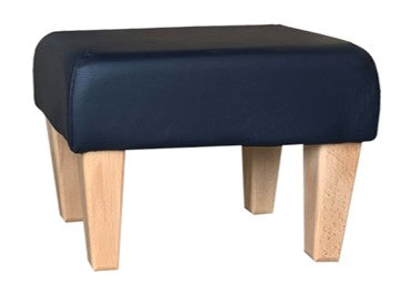 Navy Blue Faux Leather Footstool with Natural Contemporary Legs