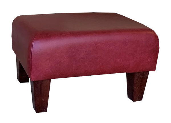 Aged Claret Leather Footstool with Mahogany Contemporary Legs