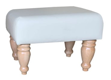 Aged Ivory Leather Footstool with Natural Turned Legs