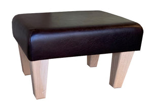Aged Dark Brown Leather Footstool with Natural Contemporary Legs