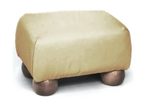 Aged Ivory Leather Footstool with Mahogany Bun Feet