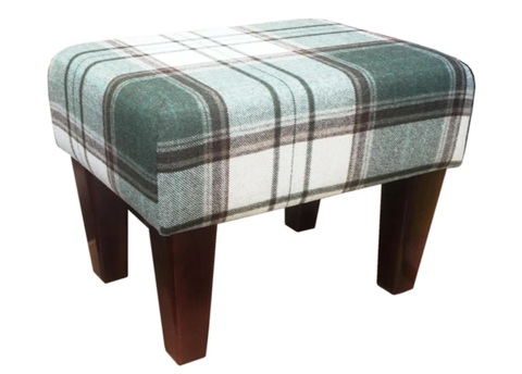 Olive Tartan Fabric Footstool with Mahogany Contemporary Legs