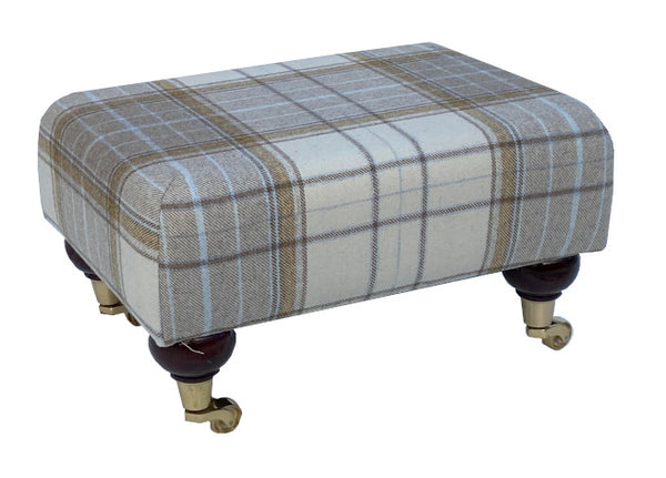 Natural Tartan Fabric Footstool with Mahogany Caster Legs