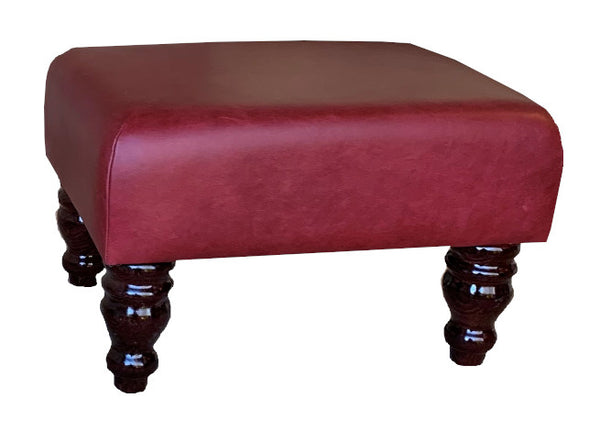 Aged Claret Leather Footstool with Mahogany Turned Legs