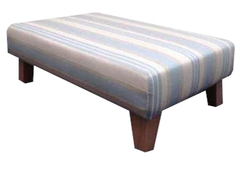 Duck Egg Woven Stripe Velvet Fabric Benchstool with Mahogany Contemporary Legs
