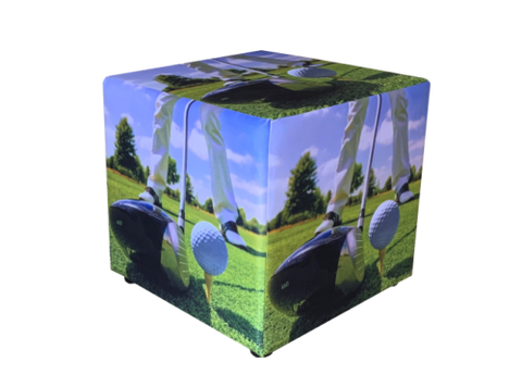 Cube Seating in Golf Print Fabric
