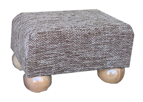 Light Brown Herringbone Chenille Fabric Footstool with Natural Bun Feet