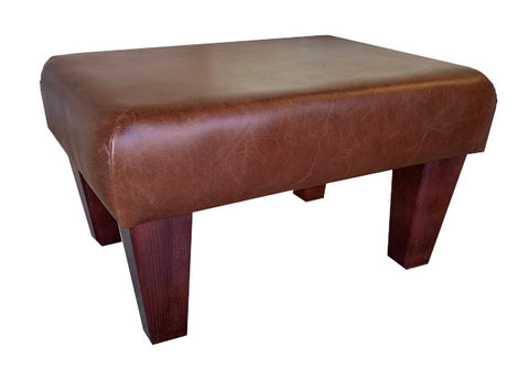 Aged Rust Leather Footstool with Mahogany Contemporary Legs
