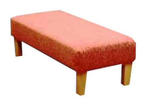 Coral Ravello Fabric Benchstool with Natural Contemporary Legs