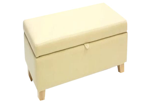 Aged Ivory Leather Ottoman with Natural Contemporary Legs