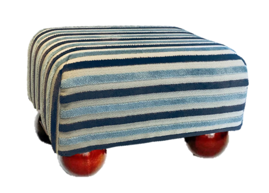 Light Blue Stripe Velvet Fabric Footstool with Mahogany Bun Feet