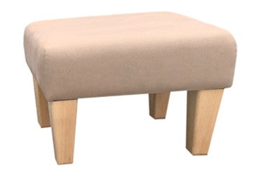 Coffee Sienna Fabric Footstool with Natural Contemporary Legs