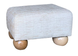 Natural Chenille Fabric Footstool with Natural Bun Feet