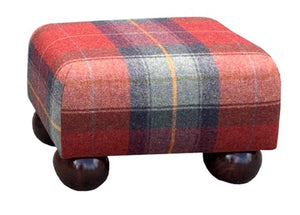 Red Tartan Fabric Footstool with Mahogany Bun Feet