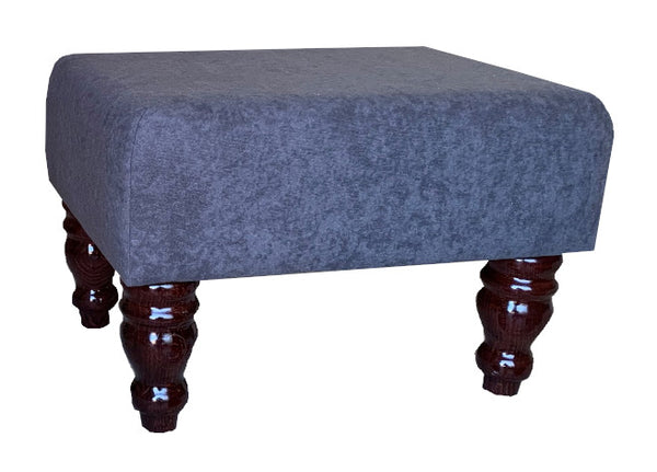 Slate Grey Faux Suede Fabric Footstool with Mahogany Turned Legs