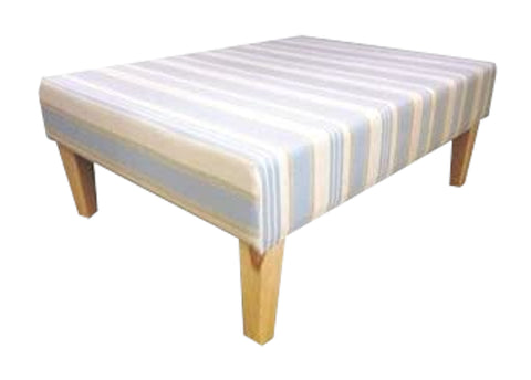 Duck Egg Woven Stripe Velvet Fabric Tablestool with Natural Contemporary Legs