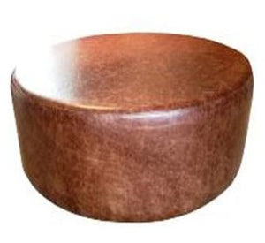 Large Drum Stool Seating in Aged Rust Leather