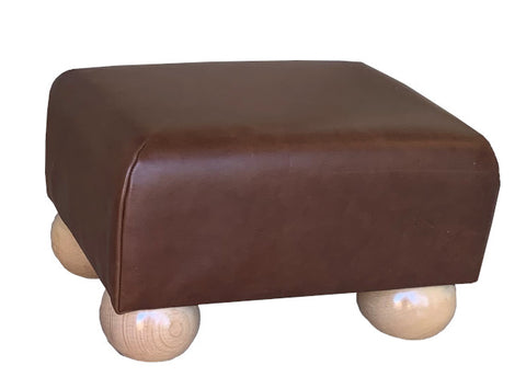 Aged Rust Leather Footstool with Natural Bun Feet