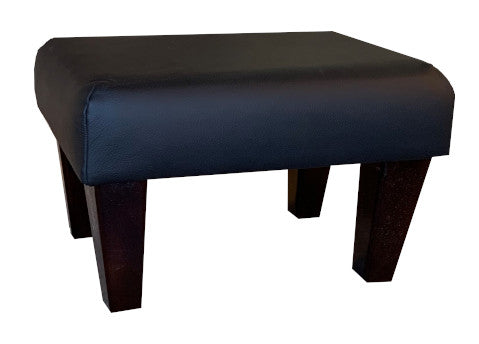 Aged Black Leather Footstool with Dark Contemporary Legs