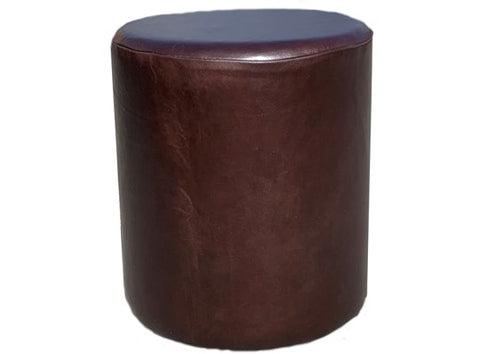 Drum Stool Seating in Aged Dark Brown Leather