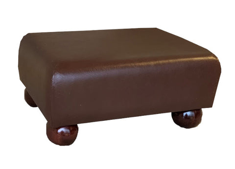 Aged Oak Leather Footstool with Mahogany Bun Feet