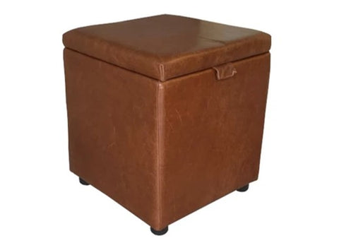 Cube Storage Ottoman in Aged Rust Leather