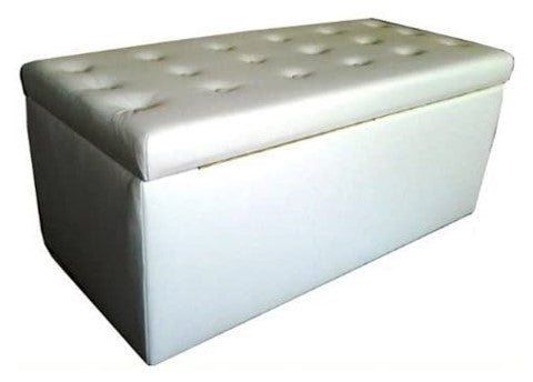 Aged White Buttoned Leather Ottoman with Natural Chunky Legs