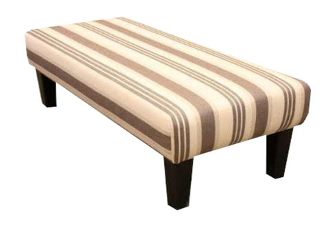 Chocolate Woven Stripe Velvet Fabric Benchstool with Dark Contemporary Legs