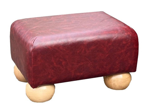 Vintage Claret Faux Leather Footstool with Natural Bun Feet
