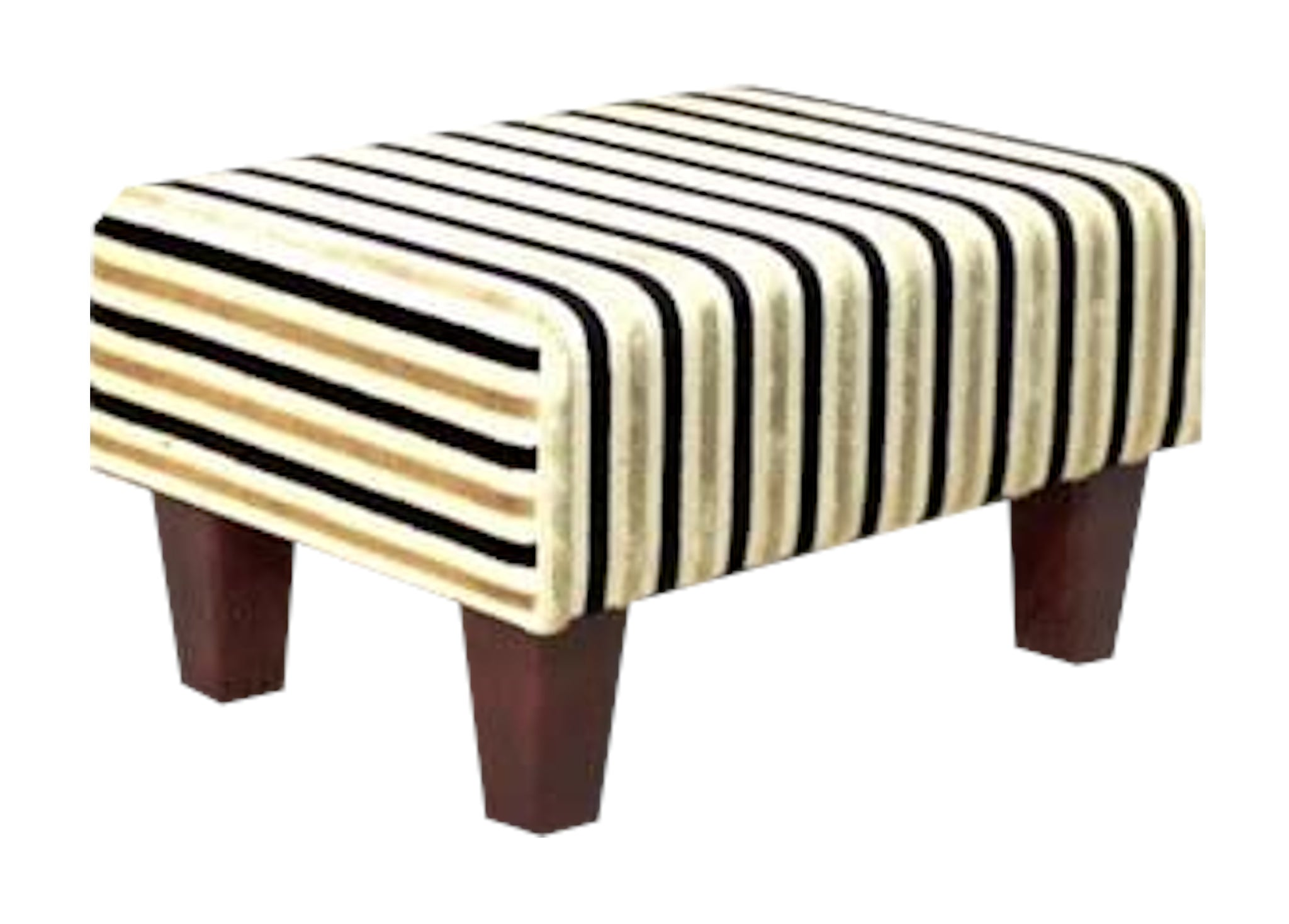 Gold Stripe Velvet Fabric Footstool with Mahogany Contemporary Legs