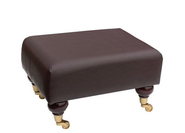 Mocha Brown Faux Leather Footstool with Mahogany Caster Legs