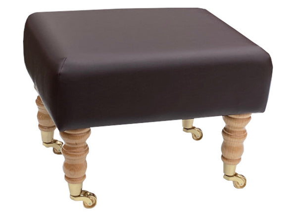 Mocha Brown Faux Leather Footstool with Natural Caster Legs