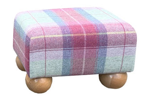 Heather Tartan Fabric Footstool with Natural Bun Feet
