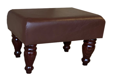 Aged Oak Leather Footstool with Mahogany Turned Legs