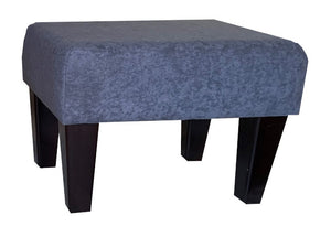 Slate Grey Faux Suede Fabric Footstool with Dark Contemporary Legs