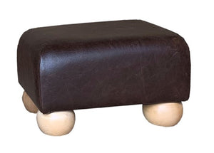 Aged Dark Brown Leather Footstool with Natural Bun Feet