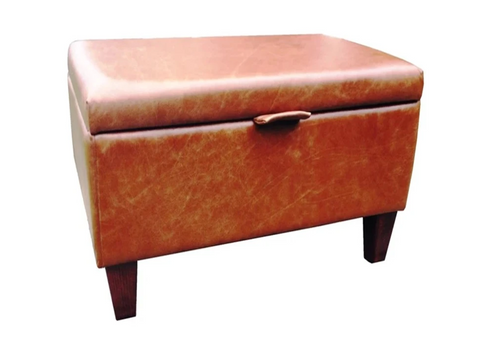 Aged Rust Leather Ottoman with Mahogany Contemporary Legs