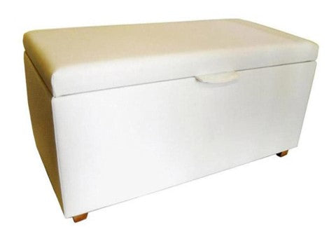 Aged White Leather Ottoman with Natural Chunky Legs