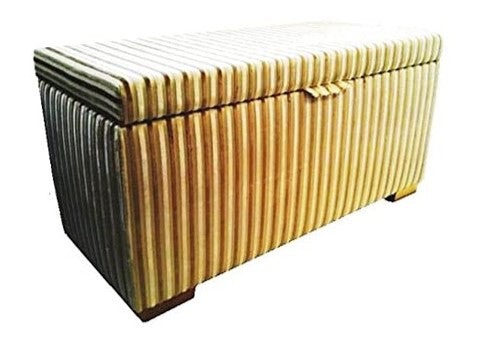Honey Cream Stripe Velvet Fabric Ottoman with Mahogany Chunky Legs