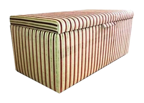 Red Stripe Velvet Fabric Ottoman with Mahogany Chunky Legs