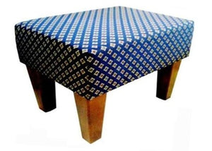 Diamond Navy Fabric Footstool with Natural Contemporary Legs