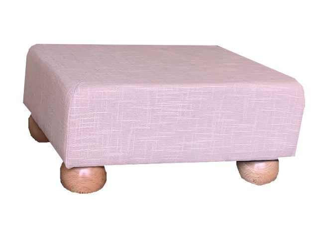 Cream Slub Fabric Footstool with Natural Bun Feet