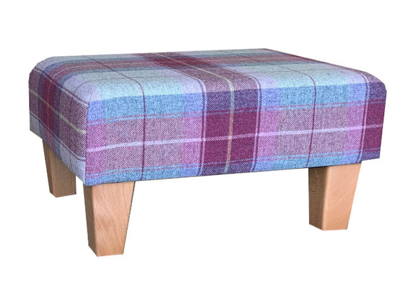 Heather Tartan Fabric Footstool with Natural Contemporary Legs