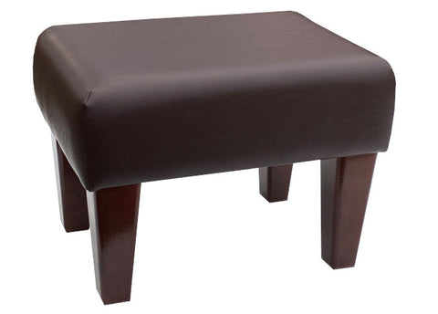 Mocha Brown Faux Leather Footstool with Mahogany Contemporary Legs